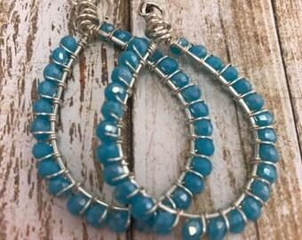 Beaded Earrings. Turquoise Crystal Hoops