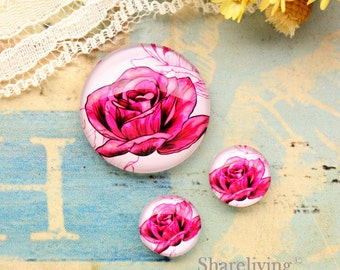Hand painted Rose Glass Cabochon, 8mm 10mm 12mm 14mm 16mm 18mm 20mm 25mm 30mm Photo Glass Dome - RCH012D