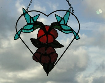 Handmade  Stained Glass Hummingbirds in Heart