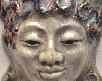 Buddha GoddessKwan Yin Face Mask Wall Art in Raku Ceramics in Crackle White Glaze