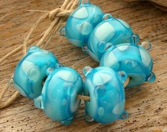RAINDROPS - Handmade Lampwork Beads - Earring Pairs - 6 Beads