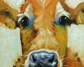 Cow painting 1208 20x20 inch animal original oil painting by Roz
