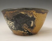 Bowl with black appaloosa horses rustic slip trailed pottery