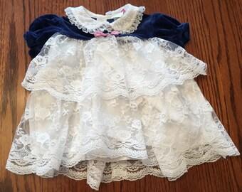 Blue Velvet and Lace Dress 6/9 Months