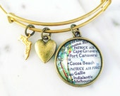 Cocoa Beach Map Charm Bangle Bracelet - Personalized Map Jewelry - Beach Lover - Travel - Wanderlust - Stacked Bangle - Florida Travel