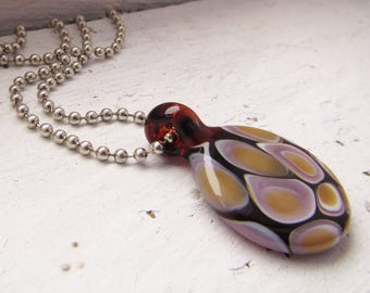 Brown and Purple Minimalist Glass Necklace