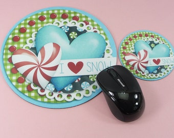 I LOVE SNOW Mouse Pad Coaster Set Round Winter Cute Desk Computer Accessory Work Home Decor Peppermint Hearts Whimsical