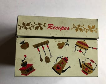 """old recipe box metal cool cooking things red gold black  fits 3"""" by 4"""" file cards  5"""" by 3"""" by 4"""""""