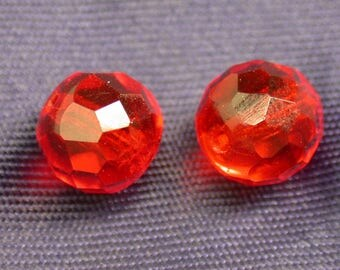 VINTAGE Austrian CRYSTAL GLASS Beads Cherry Red 10mm pkg 2 gl421