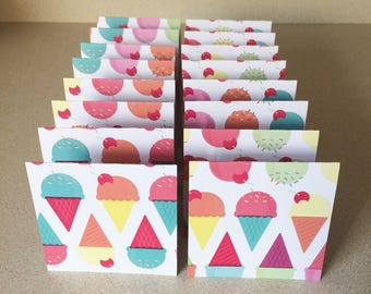 Mini Cards 16 Ice Cream Cones - blank for thank you notes 3 x 3