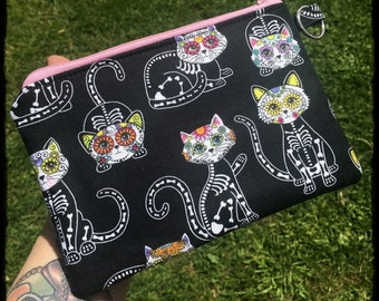 Cat Calavera Zip Pouch Coin Purse, Skeleton Cat Lady Day Of The Dead Bag Gift Gothic Bones