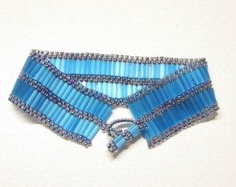 Handmade blue beaded cuff bracelet, beadwoven peyote blue cuff style bracelet, blue beaded cuff bracelet,beaded blue cuff bracelet