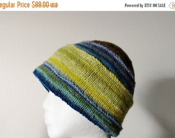 January Sale Hand Knit Double Knit Hat - Patchwork Style Knit In Blues, Greens, Greys. Spring Green, Bright Colors, Handspun, Handdyed, Boho