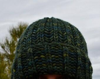 100% Merino Wool Hand Knit Hat - Super Soft Handdyed Dark Green Variegated Woolen Knit Navigator Hat. Thick Soft Knit Wool Beanie.
