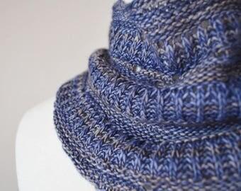 Miniature Moon Scarflette--Hand Knit Mini-Scarf in Soft Wool. Headwrap, Mini Neckerchief, Button Cowl, 100% Merino Wool Luxury Boho Handknit