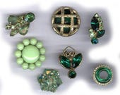 vintage single earrings BOX LOT green backs cut off glamourous SEVEN sparkles bridal bouquet hot glue embellishment earrings repurpose