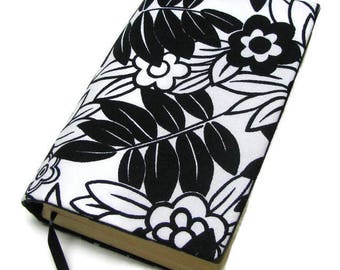 Book cover, STANDARD SIZE paperback book cover, mass market size, book protector, cotton, padded cover, Black and white!