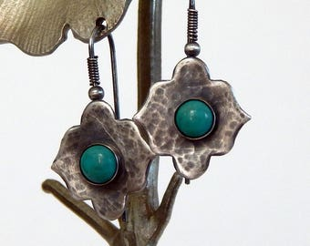 Turquoise Earrings Sterling Silver Drop Earrings Boho Earrings Gemstone Earrings Turquoise Jewelry Gift For Her Artisan Earrings