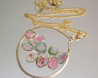 Watermelon Tourmaline Pendant, 14k Gold Filled Circle Necklace with Wire Wrapped Tourmaline Vine