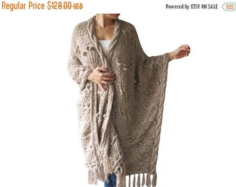 WINTER SALE Over Size Plus Size Tweed Beige Hand Knitted Blanket Poncho by Afra