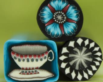 HALF PRICE Sale -Set of 3 Polymer Clay Mini Canes - 'Wonderland' (RR)