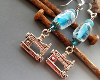 Sewing Machine Charm Earrings with Aqua Glass and Crystals