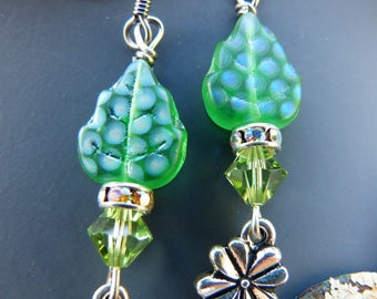 Four Leaf Clover Earrings with Polka Dotted Leaves