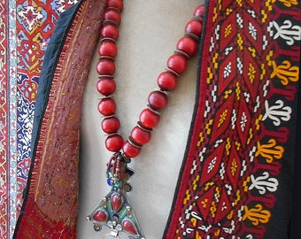 Nooria necklace. Stunning, large enameled Berber pendant and old vintage candy apple beads