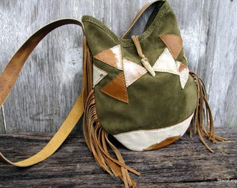 Geometric Triangle Suede Leather Shoulder Bag by Stacy Leigh in Olive Green with Fringe