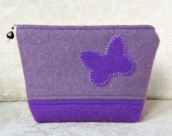 Purple Butterfly Zip Pouch, Upcycled Felted Wool Clutch