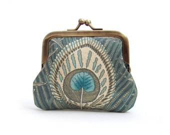 Green peacock feather coin purse, mini pocket pouch, vintage silk, printed bird feather, gift box, PEACOCK