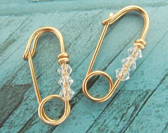 Safety pin earrings, Safety pin earrings in 14k gold filled, Safety pin earrings with crystals