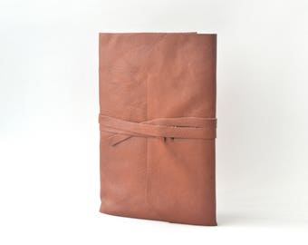 Brown Leather Journal Medium Size, Blank Leather Notebook, Hand Bound Leather Wrap Around Journal