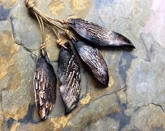 Large Leaves Bead Set, Artisan Ceramic Beads, Foxpaws