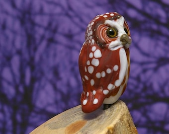 Saw Whet Owl Lampwork glass wildlife sculpture and bead by Cleo Dunsmore Buchanan - GramaTortoise 25 art sculpture wildlife art collectible