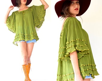 SUMMER SALE/ 30% off Vintage 70s Avocado Green Cotton Gauze Box Neck Angel Wing Tunic