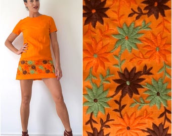 Vintage 60s 70s Orange Floral Embroidered Mini Dress (size small, medium)