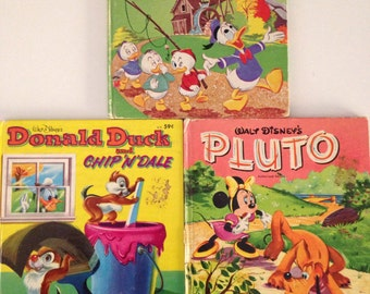 Three Vintage Whitman Tell A Tale Disney Books - Pluto - Donald Duck and Chip N Dale - Donald Duck on Tom Sawyer's Island