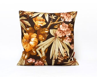 Floral Mid Century Pillow Sham, brown cushion cover, designer pillow,  modern throw pillow, 70s pillow cover, Handmade by EllaOsix