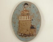 Custom Large Handmade Clay Pottery Pendant Charm or Ornament - Choose Shape and Color - LIGHTHOUSE