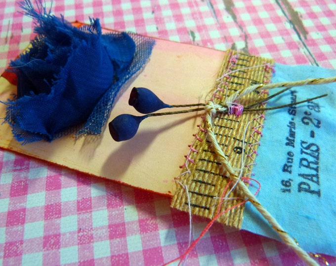 Gift tag - handmade, blue, Paris