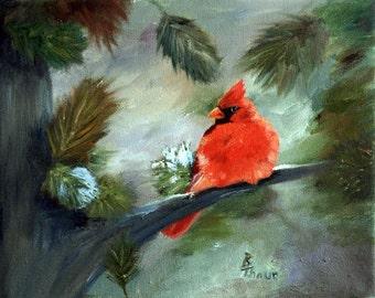 Winter Cardinal Original 8x10 Oil Painting
