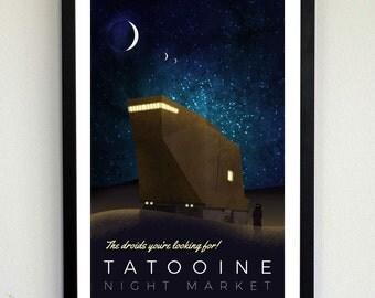 Tatooine Night Market Poster