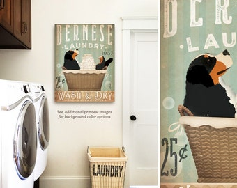 Bernese mountain dog berner Laundry Company basket illustration graphic art on canvas by stephen fowler