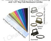 10 - 10 Inch Pieces of Medium Heavy Weight Cotton Webbing and 10 Key Fob Hardware Combo - 1.25 Inch - Plus Instructions - SEE COUPON