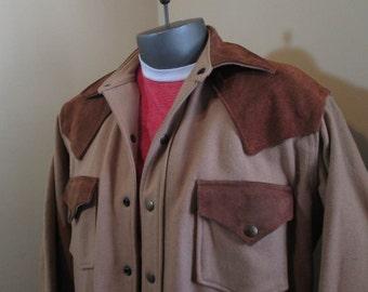 70s Cowboy Woolrich Jacket Camel Wool Brown Leather Vintage Woolrich 70s wool Jacket Western brown suede Jacket metal snaps L