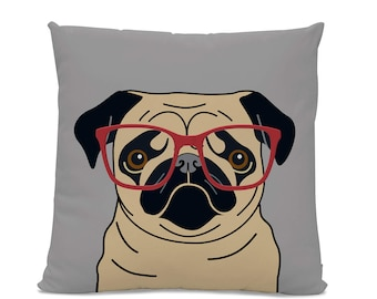 Fawn Pug with Glasses Pillow - Pug with Glasses Pillow - Dog with Glasses Pillow - Pug decor - Pug gift - Funny Pug Pillow - Funny Dog Gift