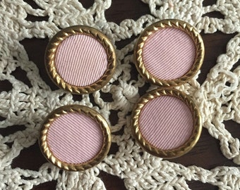 Vintage Set of 4 Buttons - Pink Linen with Gold Metal Rims - Perfect for sewing, home decor, crafting