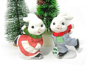 Christmas Skating Bunnies Figurines by Homco, Ceramic, Made in Taiwan, Vintage 1980s Holiday Decor, Painted Bisque Ceramic, Kitsch Whimsical