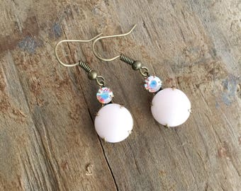 Blush Pink Dangle Earrings, Romantic Vintage Glass Earrings , Retro Rhinestone Dangles, Glamor Gift for Girlfriend